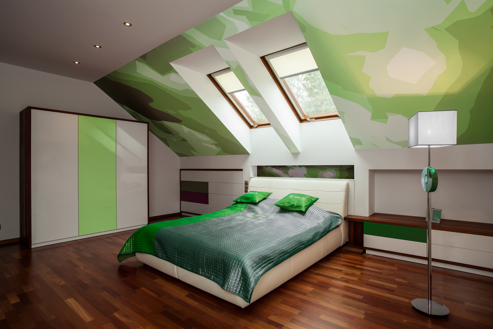 amenajarea mansardei dormitor